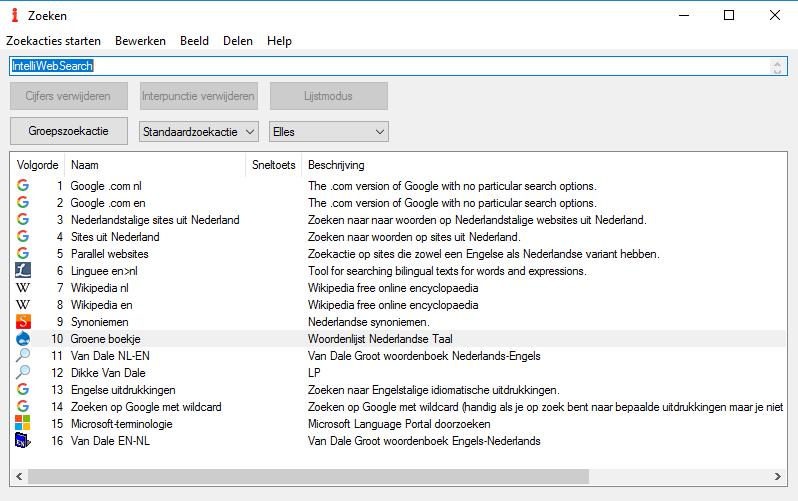 Zoekvenster van Intelliwebsearch